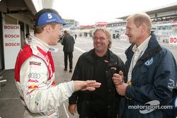 Mattias Ekström mit F1-Weltmeister Keke Rosberg und WRC-Weltmeister Juha Kankkunen