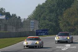 #78 J-3 Racing Porsche 911 GT3 RS: Manuel Matos, Randy Wars, Rick Skelton, #45 Flying Lizard Motorsports Porsche 911 GT3 RSR: Johannes van Overbeek, Darren Law, Patrick Huisman