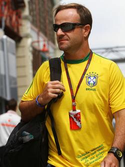 Rubens Barrichello, Williams F1 Team in a Brazilian football shirt