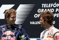 Podium: race winnaar Sebastian Vettel, Red Bull Racing, 3de Jenson Button, McLaren Mercedes