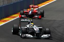 Nico Rosberg, Mercedes GP leads Lucas di Grassi, Virgin Racing