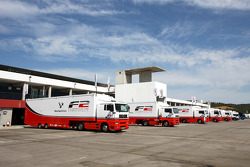 Formula Two transporters in the paddock