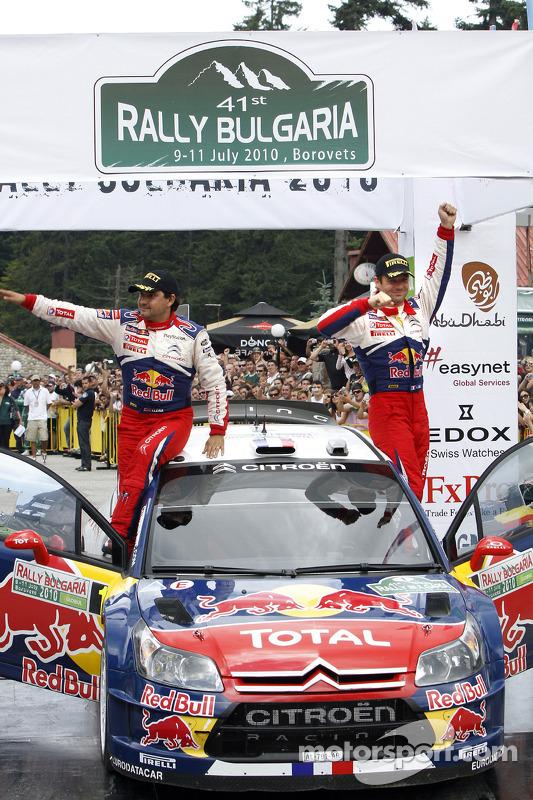 Podium: winnaars Sébastien Loeb en Daniel Elena