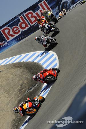 Dani Pedrosa, Repsol Honda Team leads Casey Stoner, Ducati Marlboro Team and Jorge Lorenzo, Fiat Yamaha Team