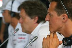 Nico Rosberg, Mercedes GP with Norbert Haug, Mercedes, Motorsport chief and Michael Schumacher, Mercedes GP