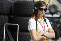 Dams Press officer claire in the pit lane