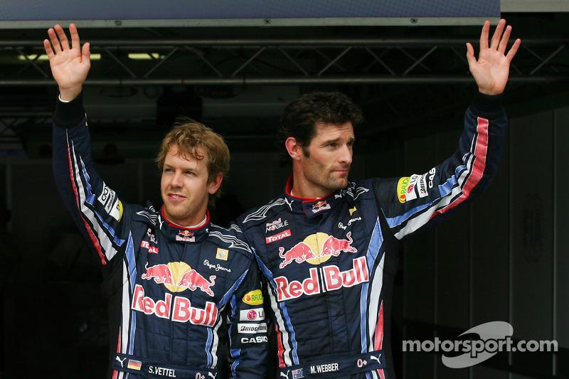 Polepositie Sebastian Vettel, Red Bull Racing, 2de Mark Webber, Red Bull Racing