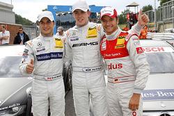 Pole winner Paul di Resta, Team HWA AMG Mercedes, second place Bruno Spengler, Team HWA AMG Mercedes, third place Timo Scheider, Audi Sport Team Abt