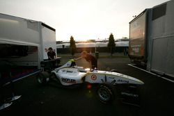 The car of Renger Van Der Zande is put into the garage at the end of the day