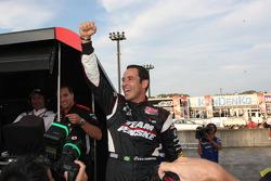 Pole winner Helio Castroneves, Team Penske celebrates