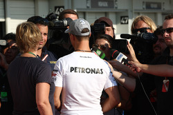 Michael Schumacher, Mercedes GP talks to the media