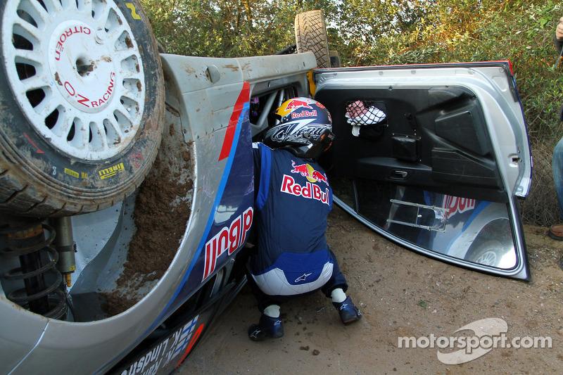 Crash voor Kimi Raikkonen en Kaj Lindstrom, Citroën C4 WRC, Citroën Junior Team