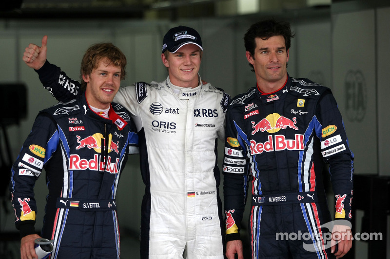 Polepositie Nico Hulkenberg, Williams F1 Team, 2de Sebastian Vettel, Red Bull Racing en 3de Mark Webber, Red Bull Racing