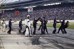 Joe Gibbs Racing Toyota crew members celebrate