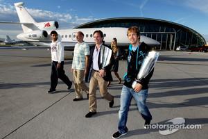 Mark Webber, chief technical officer Adrian Newey, principal Christian Horner and Sebastian Vettel