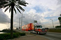 NASCAR haulers enter Miami Beach on MacArthur Causeway