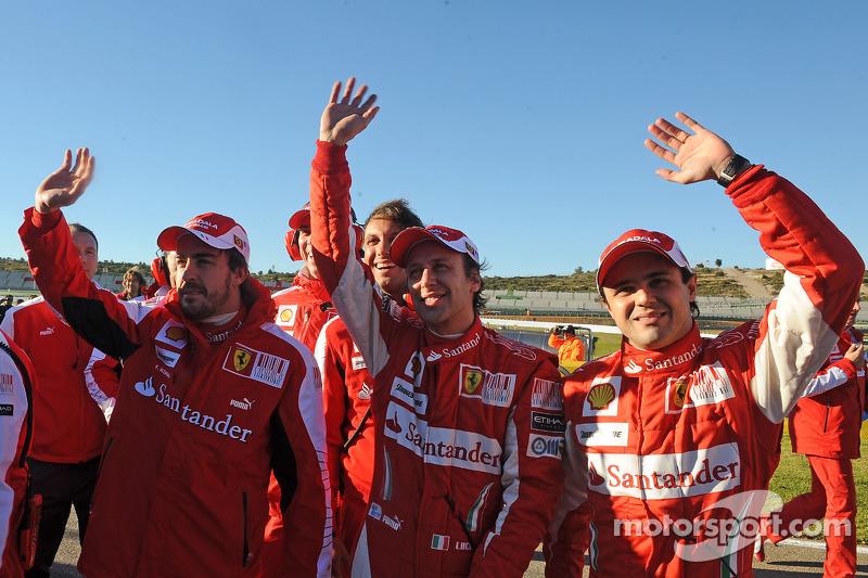 Fernando Alonso, Luca Badoer and Felipe Massa