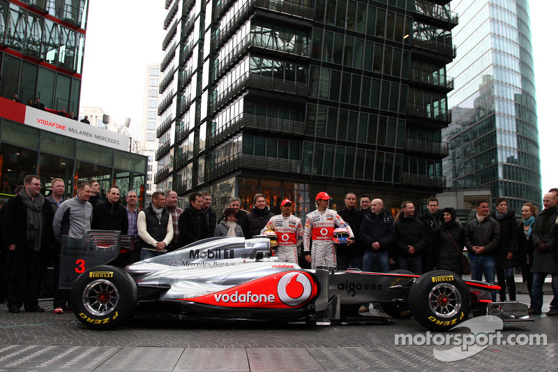 Lewis Hamilton, McLaren Mercedes, Jenson Button, McLaren Mercedes and competition winners