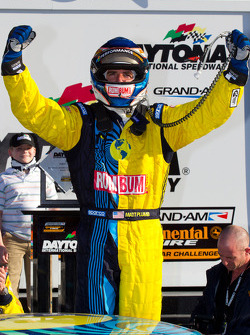 GS victory lane: race winner Matt Plumb celebrates