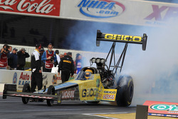 Morgan Lucas during his burnout in his GEICO Powersports/Lucas Oil Top Fuel Dragster