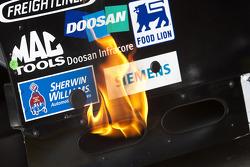 Flames on the car of Kyle Busch, Joe Gibbs Racing Toyota