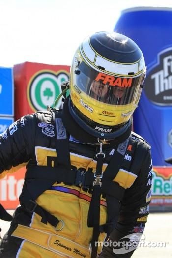 Spencer Massey exiting his Fram / Prestone Top Fuel dragster