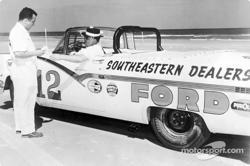 Joe Weatherly in his 1956 Ford Sunliner convertible race car at Daytona Beach