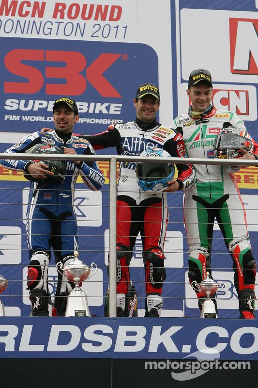 Marco Melandri, Carlos Checa, Leon Camier on the podium