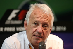 Charlie Whiting, FIA Delegate at a FIA Press Conference