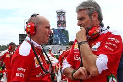 Jock Clear, Direttore dell'ingegneria Ferrari con Maurizio Arrivabene, Ferrari Team Principal in griglia di partenza