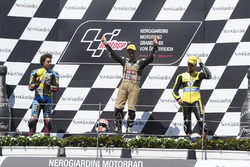 Podium: Race winner Johann Zarco, Ajo Motorsport, Kalex; second place Franco Morbidelli, EG 0,0 Marc VDS, Kalex; third place Alex Rins, Paginas Amarillas HP 40, Kalex