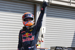 Max Verstappen, Red Bull Racing celebrates his second position in qualifying parc ferme