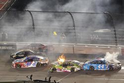Crash: Ryan Newman, Richard Childress Racing, Chevrolet; Dylan Lupton, BK Racing, Toyota; David Ragan, BK Racing, Toyota; Brian Scott, Richard Petty Motorsports, Ford
