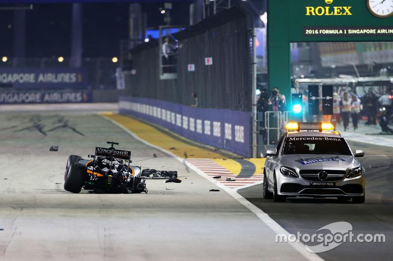 Nico Hulkenberg, Sahara Force India F1 VJM09 va a sbattere alla partenza