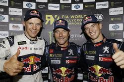 Podium: race winner Sébastien Loeb, Team Peugeot Hansen, Mattias Ekström, EKS RX, Münnich Motorsport, third place Timmy Hansen, Team Peugeot Hansen