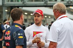 Christian Horner, teambaas Red Bull Racing met Sebastian Vettel, Ferrari en Dr Helmut Marko