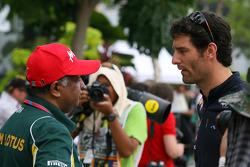 Tony Fernandes, Team Lotus, Team Principal and Mark Webber, Red Bull Racing