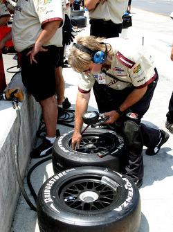Newman/Hass Racing crew member at work