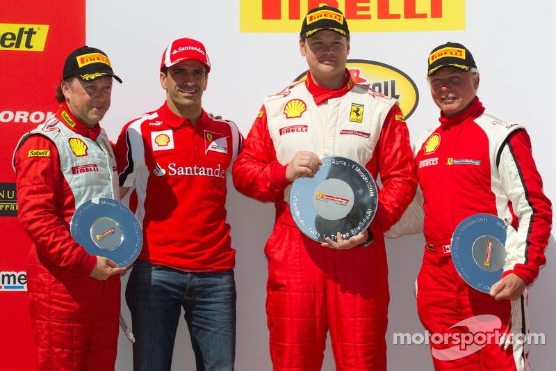 F430 podium: winner Chris Ruud, second place Rob Metka, third place Guy Leclerc with Marc Gene