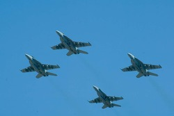 F-18 jets fly-over before the race