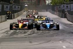 Race start: Sébastien Bourdais makes a move on the inside of Paul Tracy