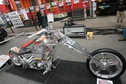 John Street party: a chopper on display