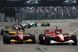 Justin Wilson passes Sébastien Bourdais for the lead