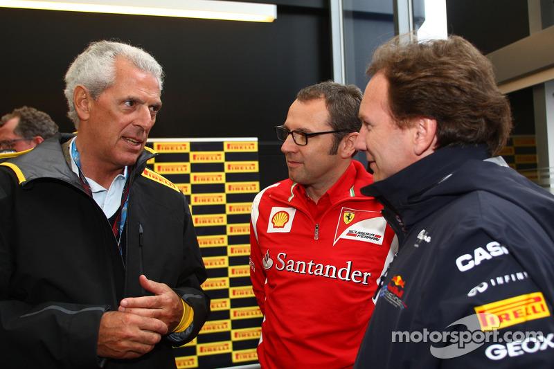 Marco Tronchetti Provera, president of Pirelli, Christian Horner, Red Bull Racing, Sporting Director and Stefano Domenicali, Scuderia Ferrari Sporting Director