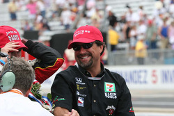 A joyful Michael Andretti enjoys the victory as team co-owner