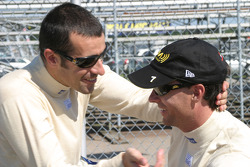 Dario Franchitti congratulates pole winner Bryan Herta