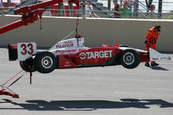 Wrecked car of Ryan Briscoe