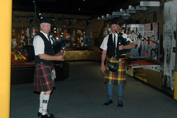 Bagpipes play out the wedding party
