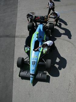 Rahal Letterman Racing crew members wheel out the #17 car