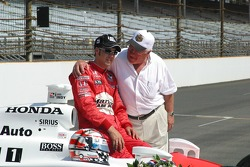 Sam Hornish Jr. is congratulated by his father